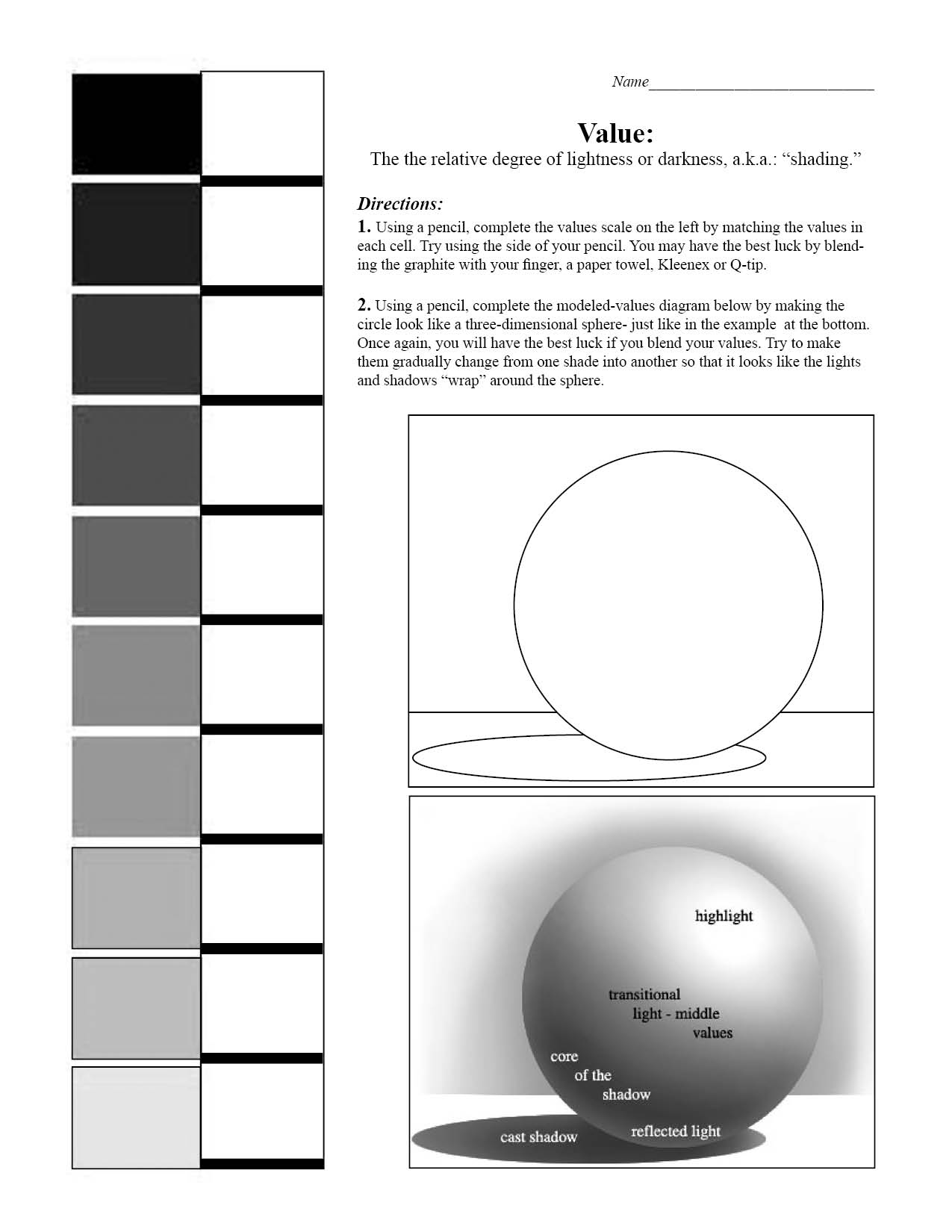 7 Images of Printable Art Worksheet Value Scale