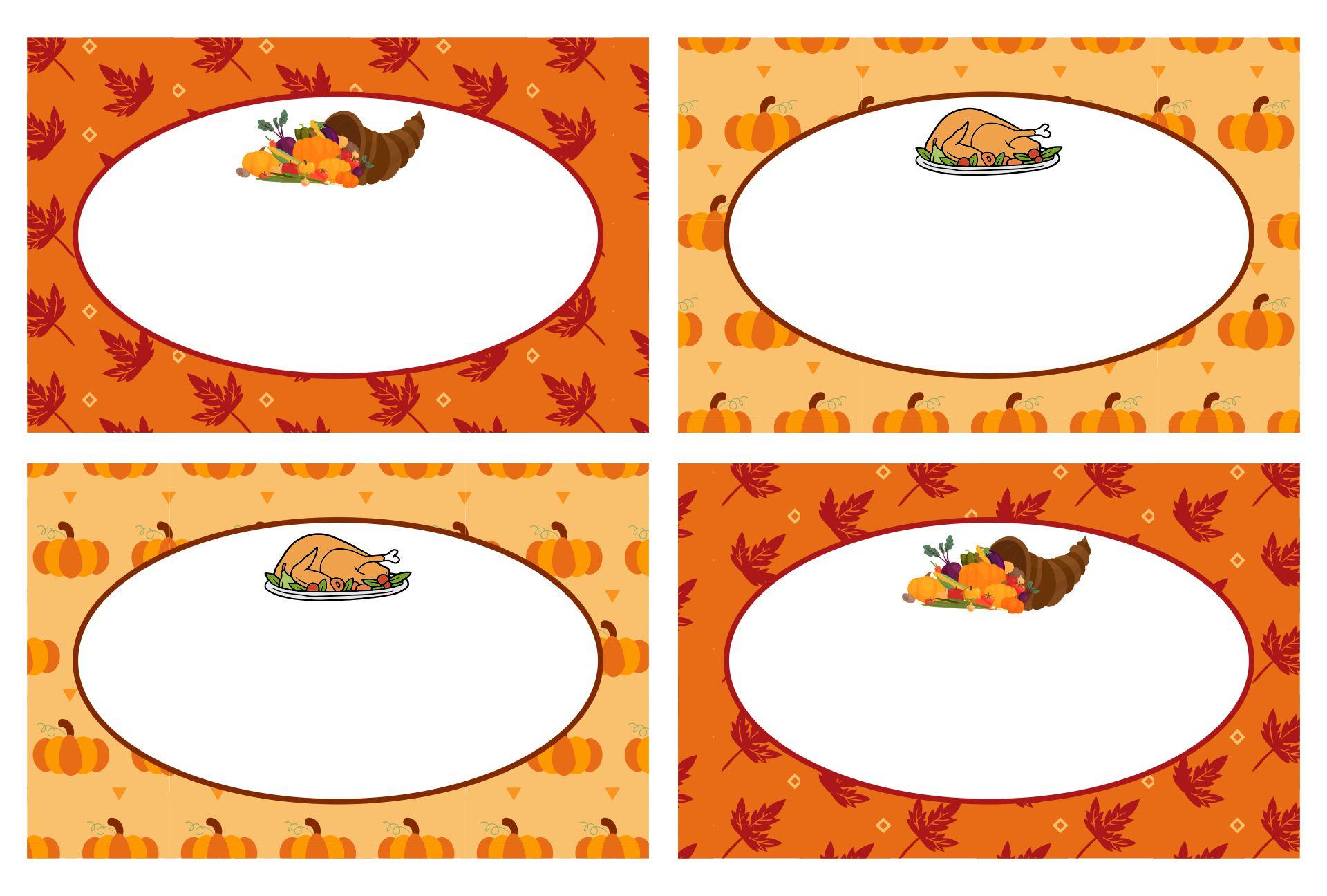 Thanksgiving Food Labels Printable