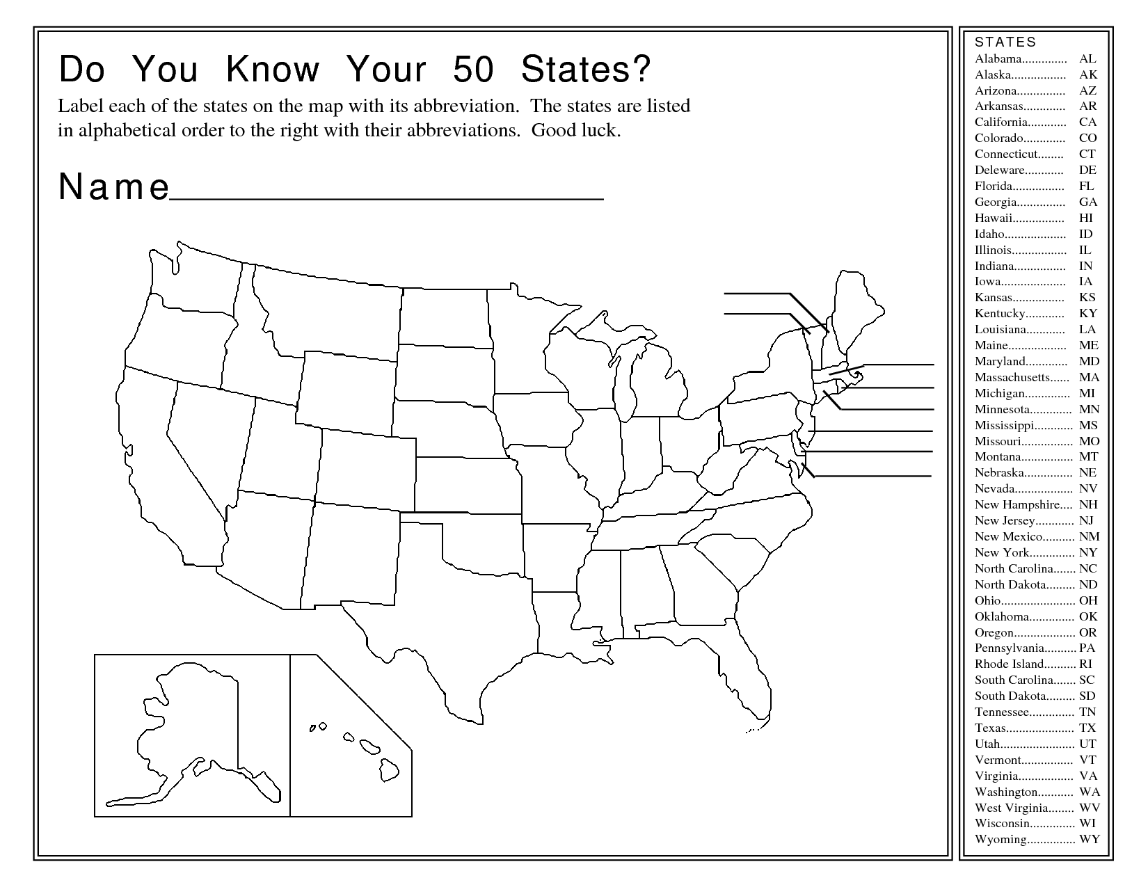 50 States And Capitals Worksheet | ABITLIKETHIS