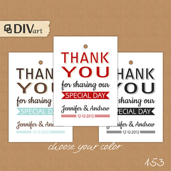 Thank You Wedding Gifts Wording : Thank You Gift Tags, Wedding Thank You Favor Tags Wording & Thank You ...