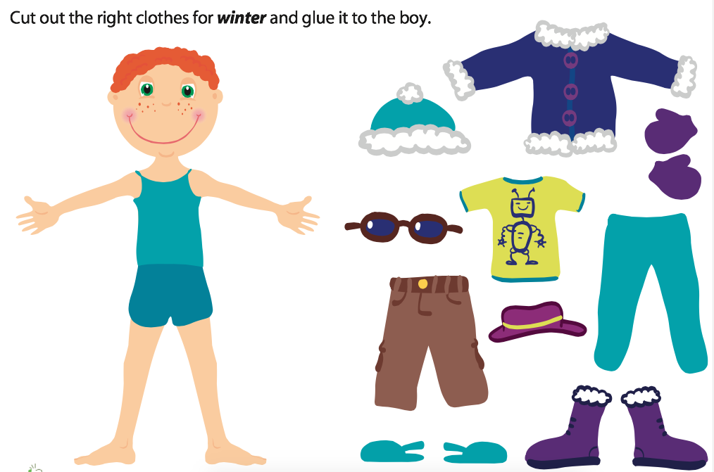 Winter Weather Printable Doll Clothes
