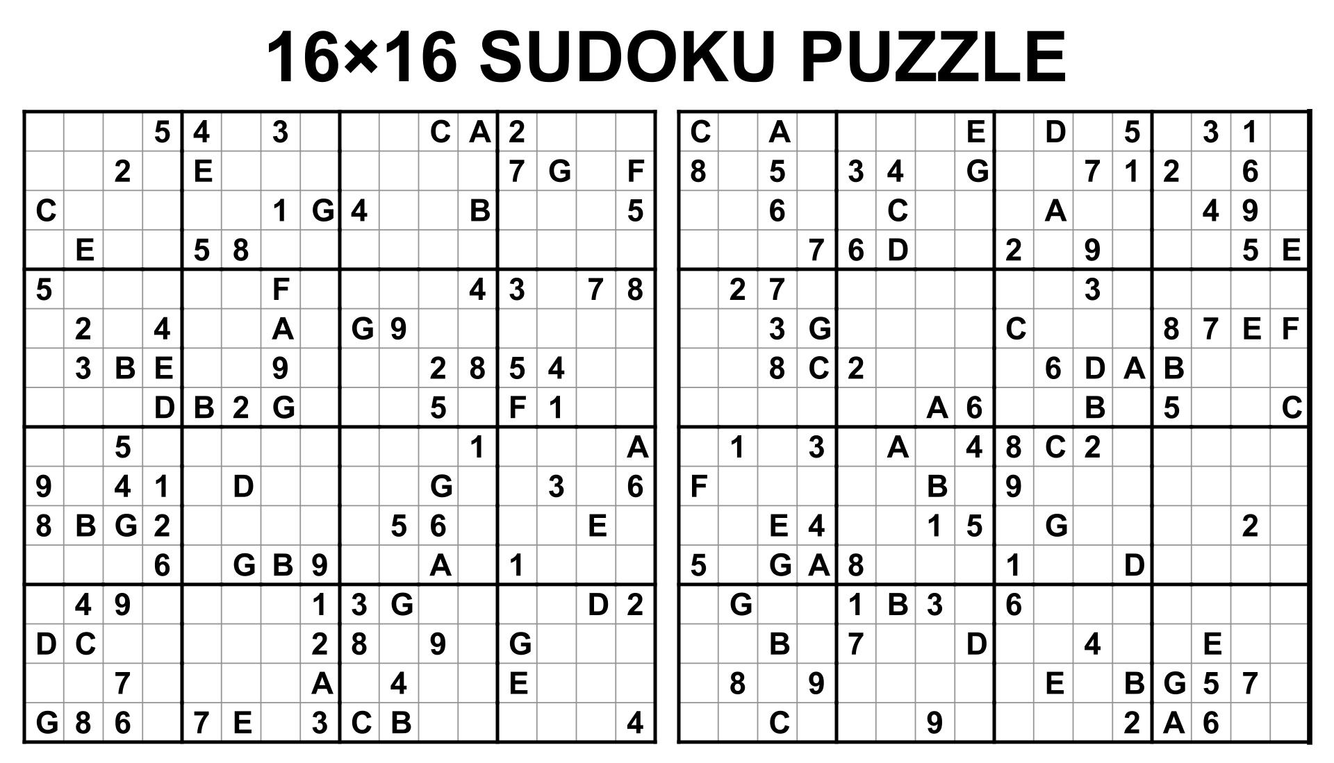 Free Printable 16x16 Mega Sudoku Puzzles - free printable 16x16 mega ...