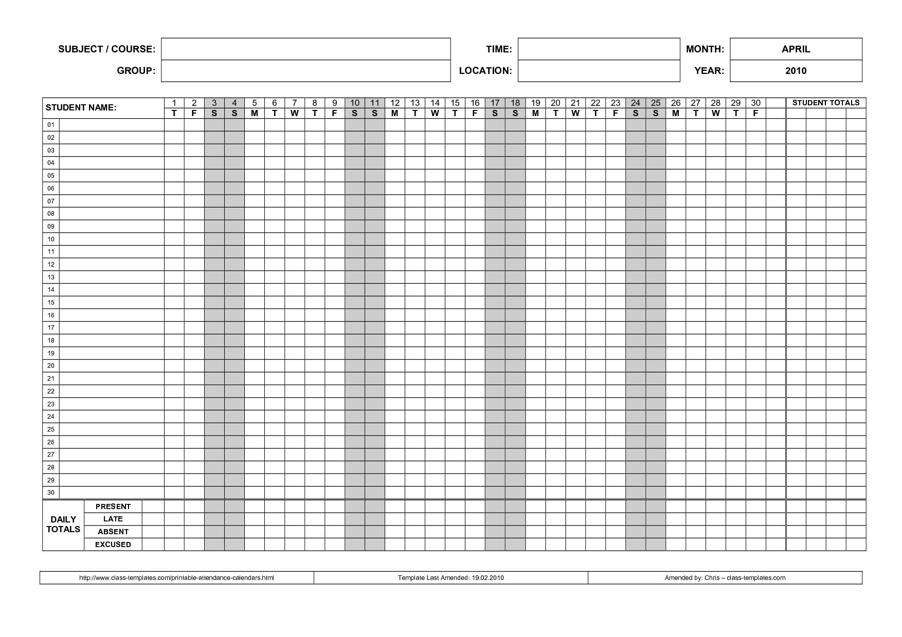 ... Attendance Sheets and 2015 Free Printable Employee Attendance Calendar
