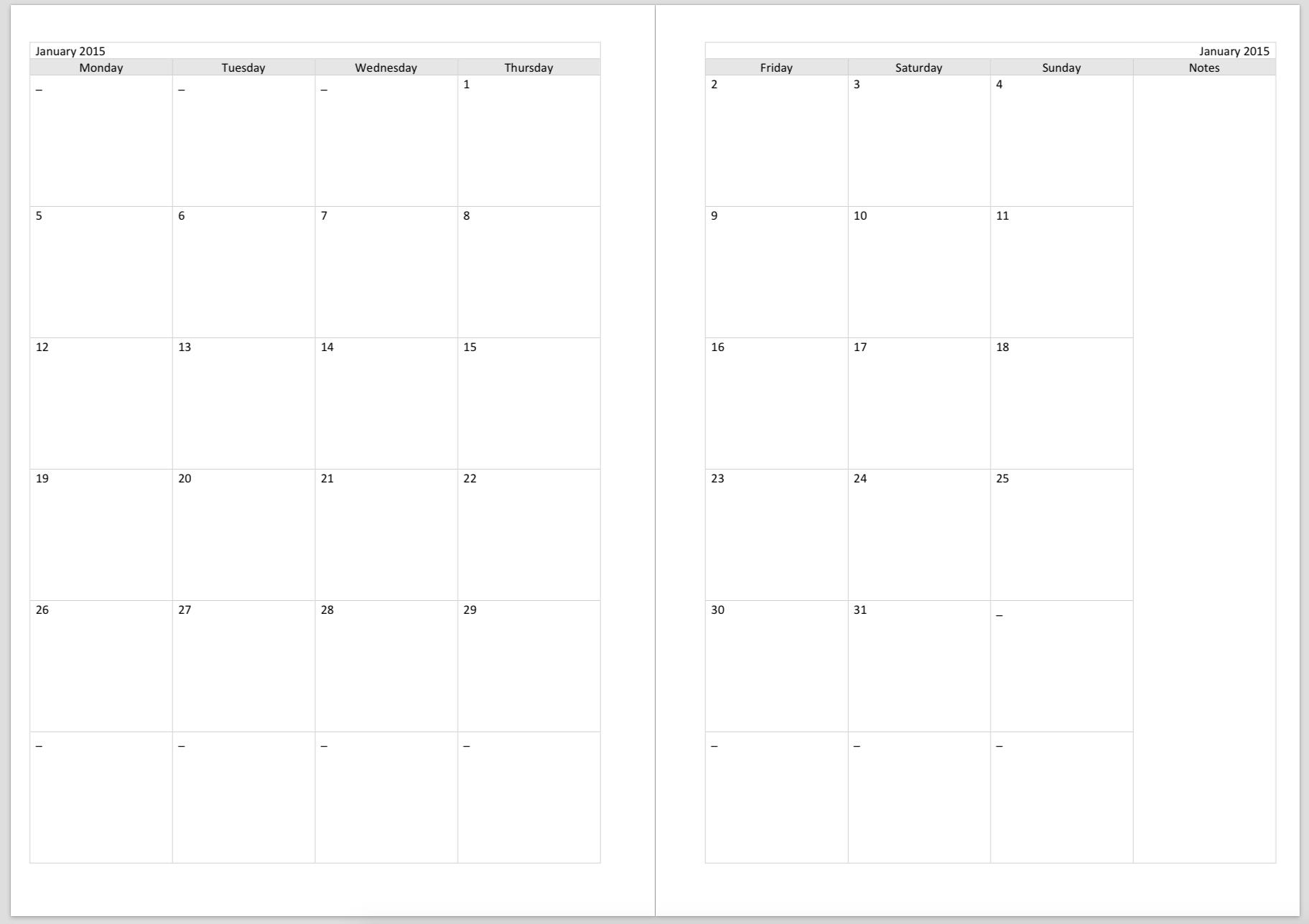 2016 Monthly Calendar Printable PDF