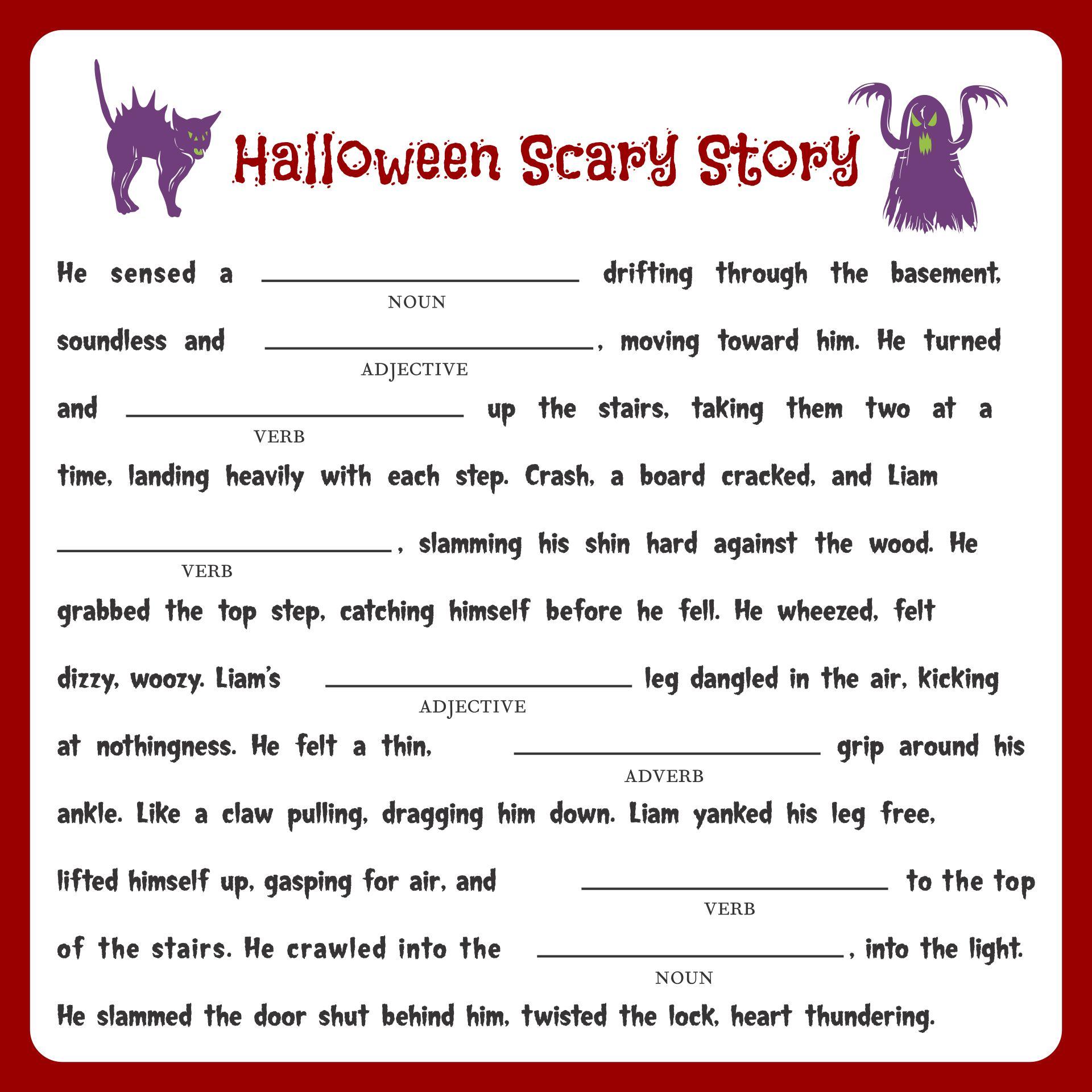 Adult Halloween Mad Libs Printable