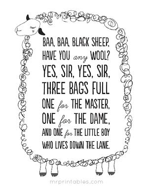 Baa Black Sheep Nursery Rhyme