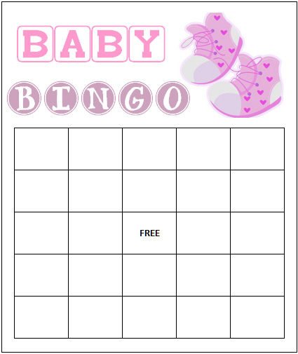 4 Images of Printable Baby Shower Bingo Card Template