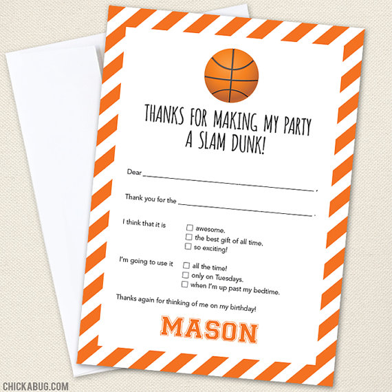 5 Images of Basketball Thank You Cards Printables