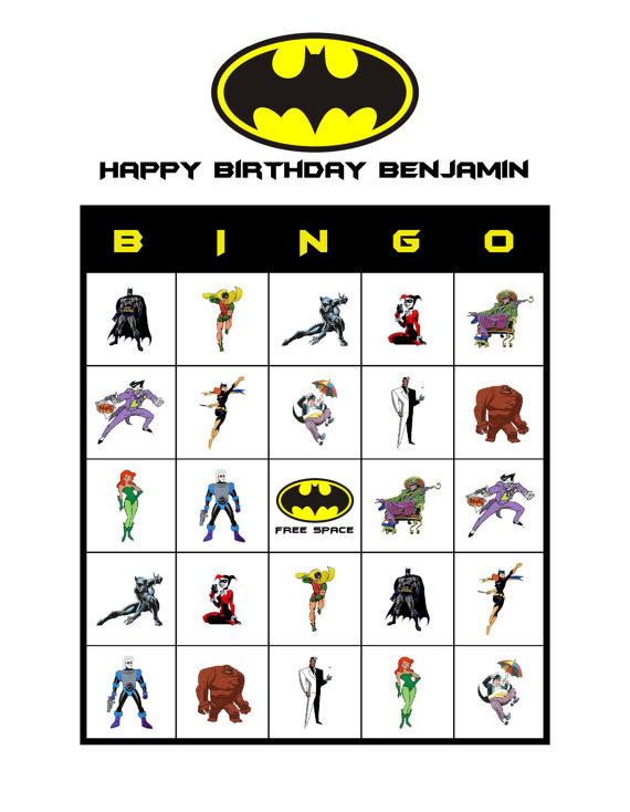8 Images of Batman Printable Bingo Cards