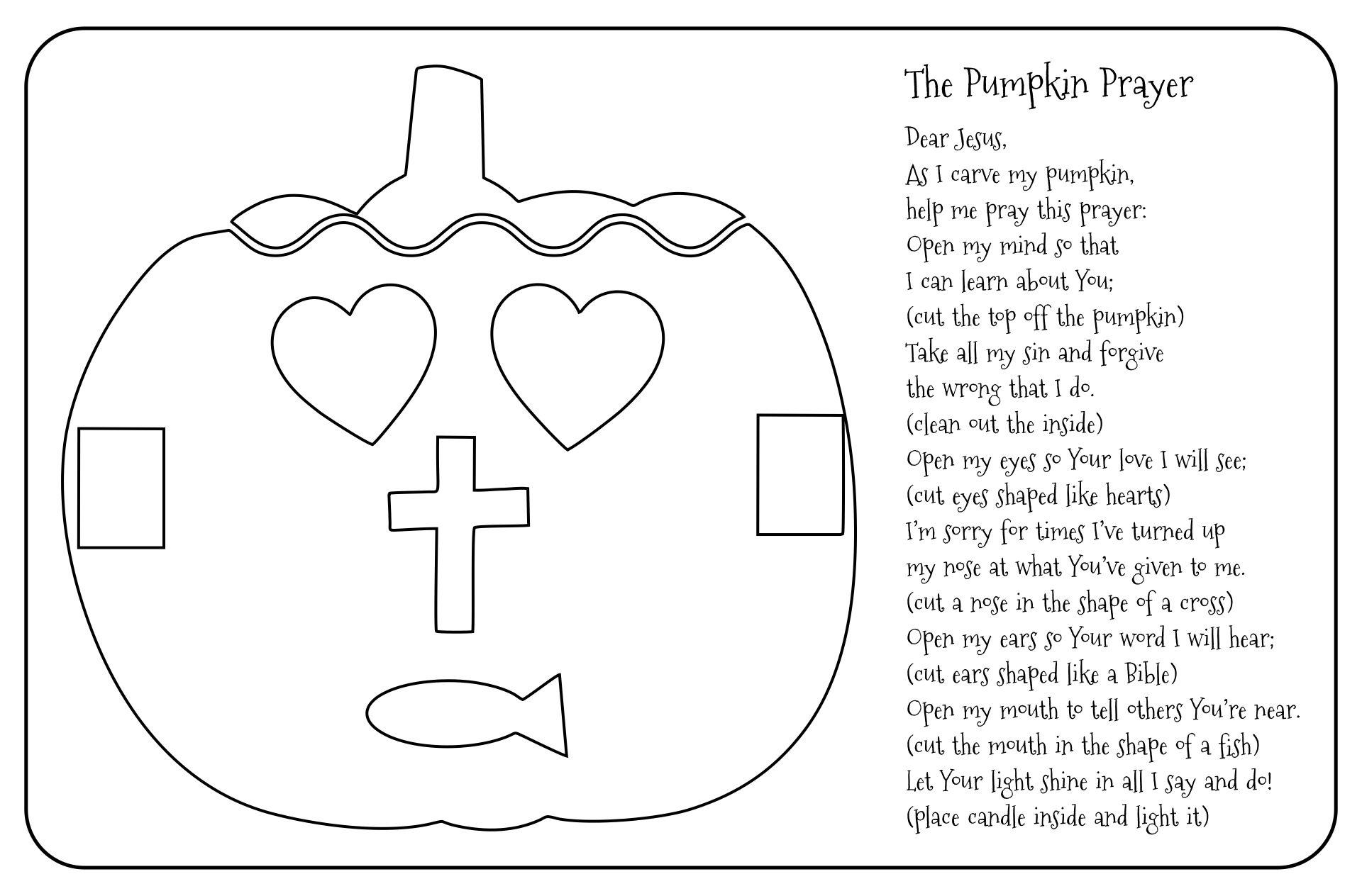 Christian Pumpkin Poem Coloring Page