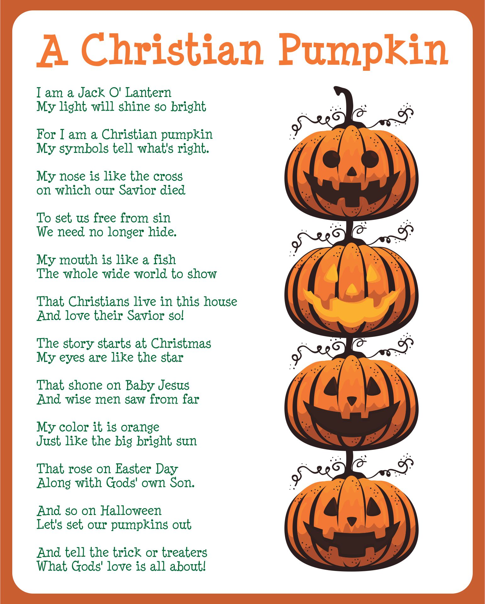 Christian Pumpkin Poem Printable