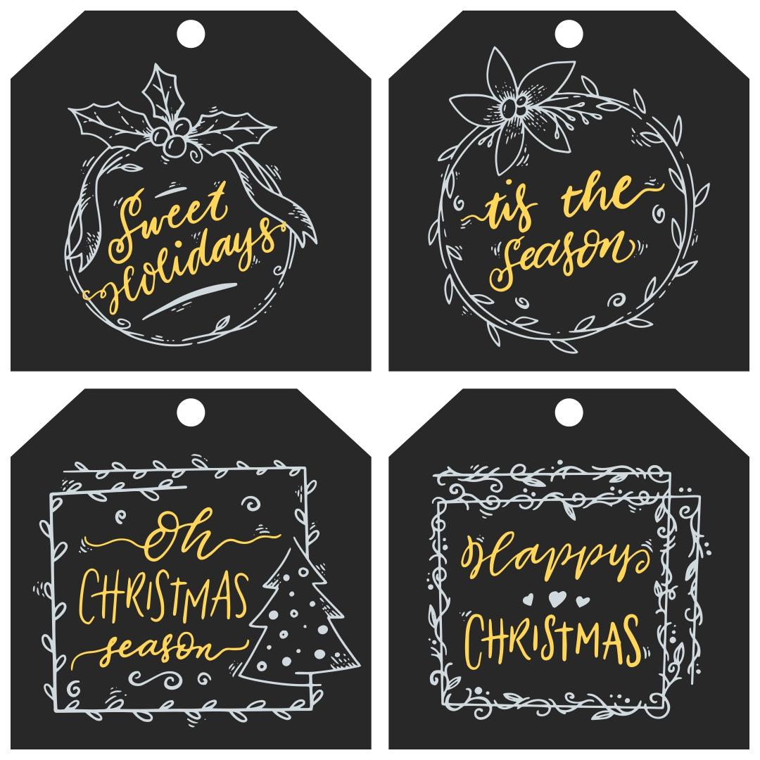 Christmas Gift Tags Chalkboard