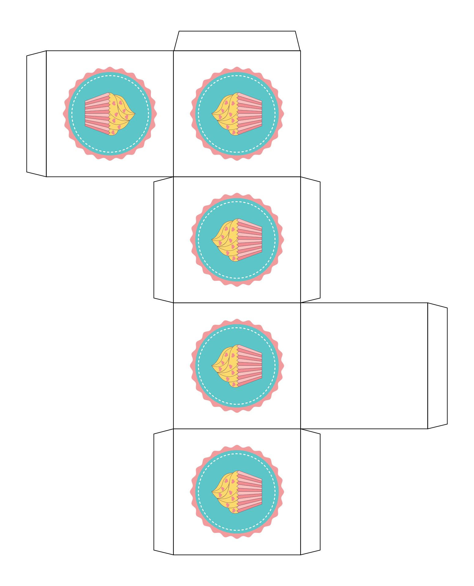 Cupcakes Boxes Templates Printable Free