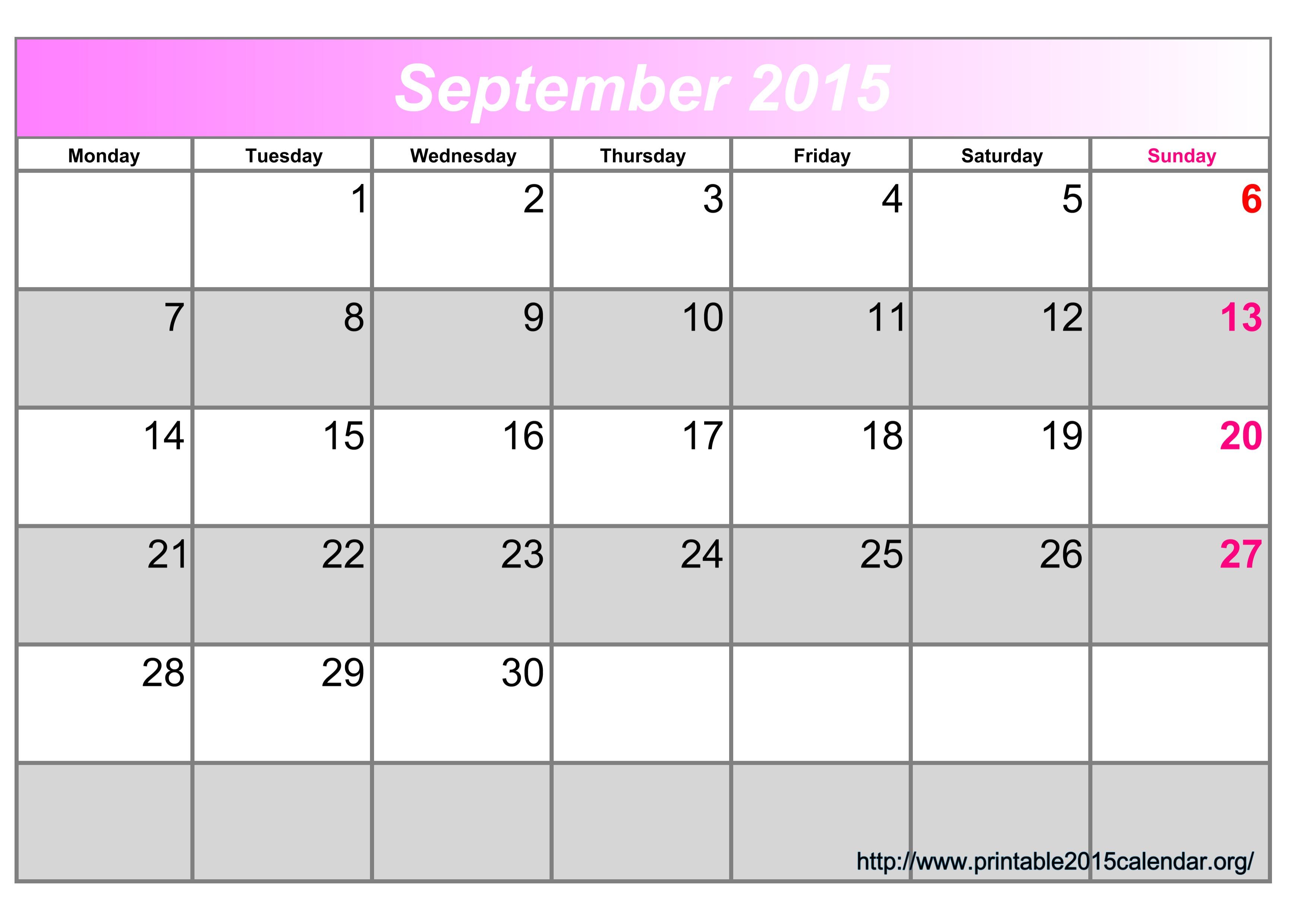 8 Images of September 2015 Calendar Printable Org