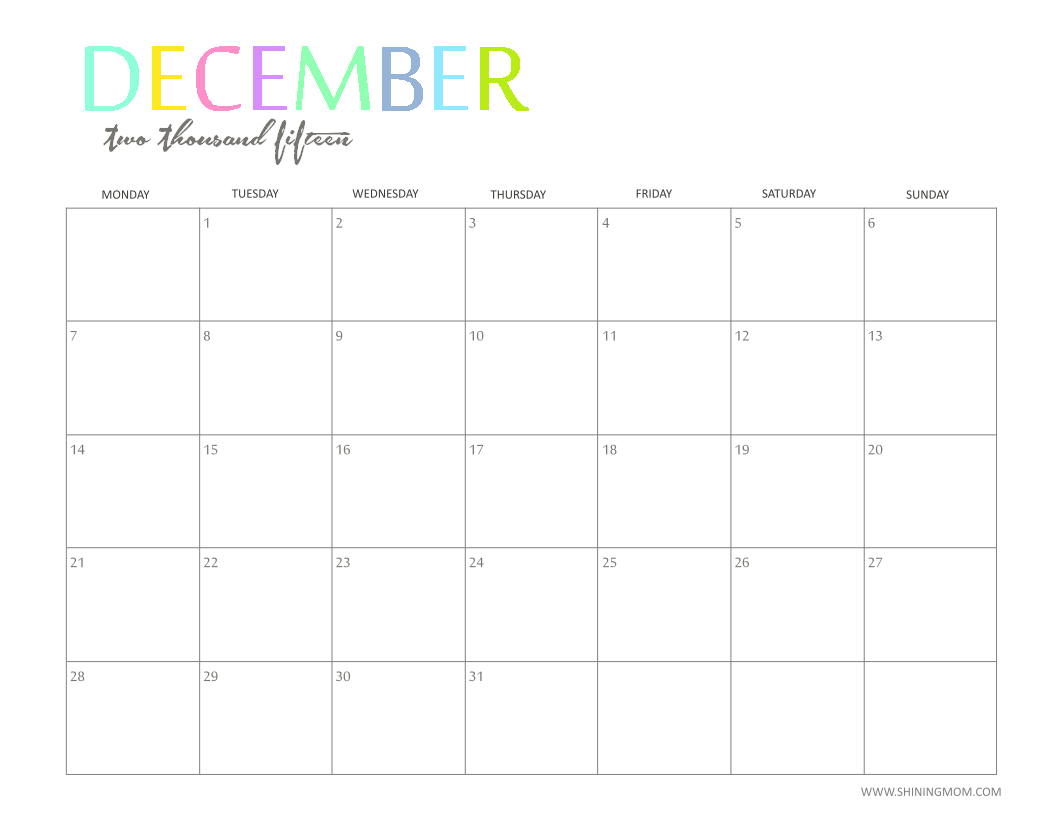 December 2015 Monthly Calendar Printable