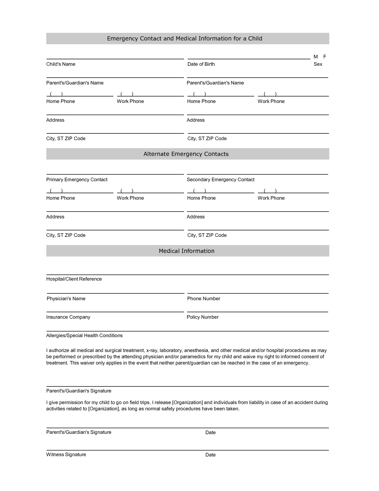 5 Images of Printable Emergency Contact Form Template