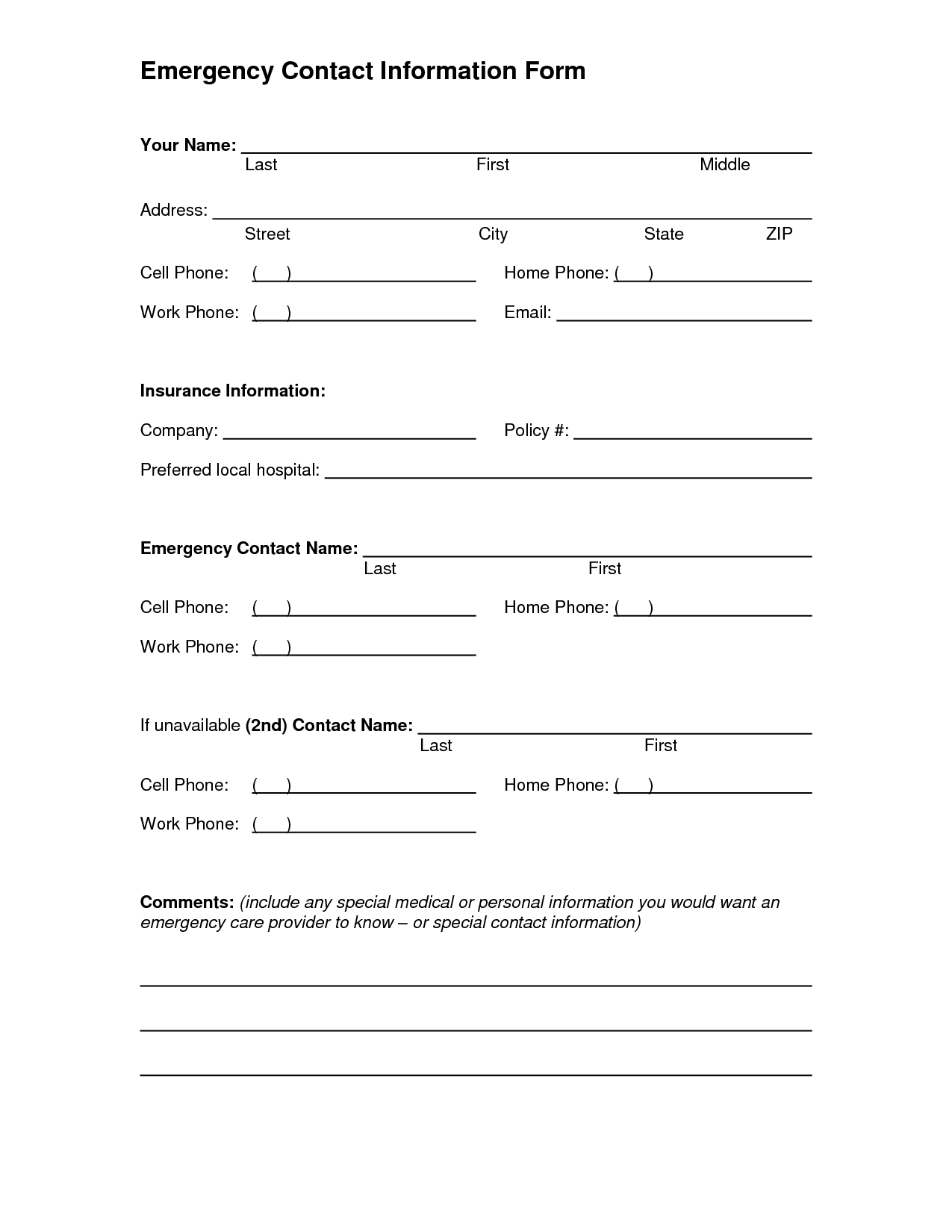 Emergency Contact Form Template - Emergency Contact Information Form ...