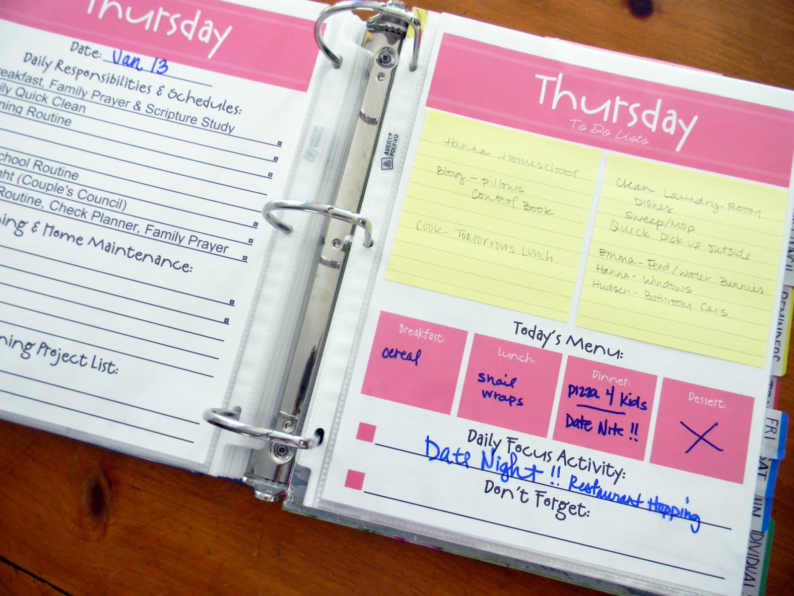 Family Planner Binder Free Printables