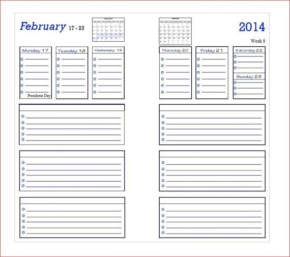 Planner Calendar Inserts : Best images of filofax personal size week printables