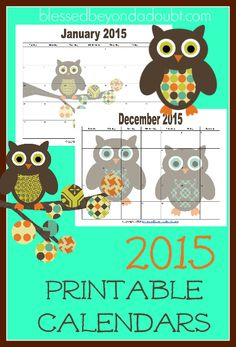 5 Images of Christmas Owl Free Printable Calendars