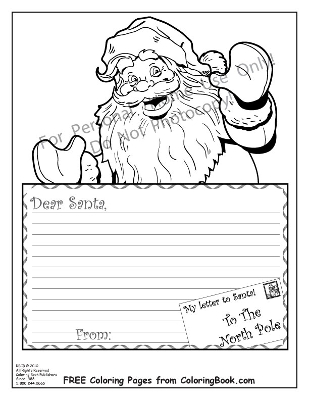 6 Images of Coloring Printable Santa Letter Template