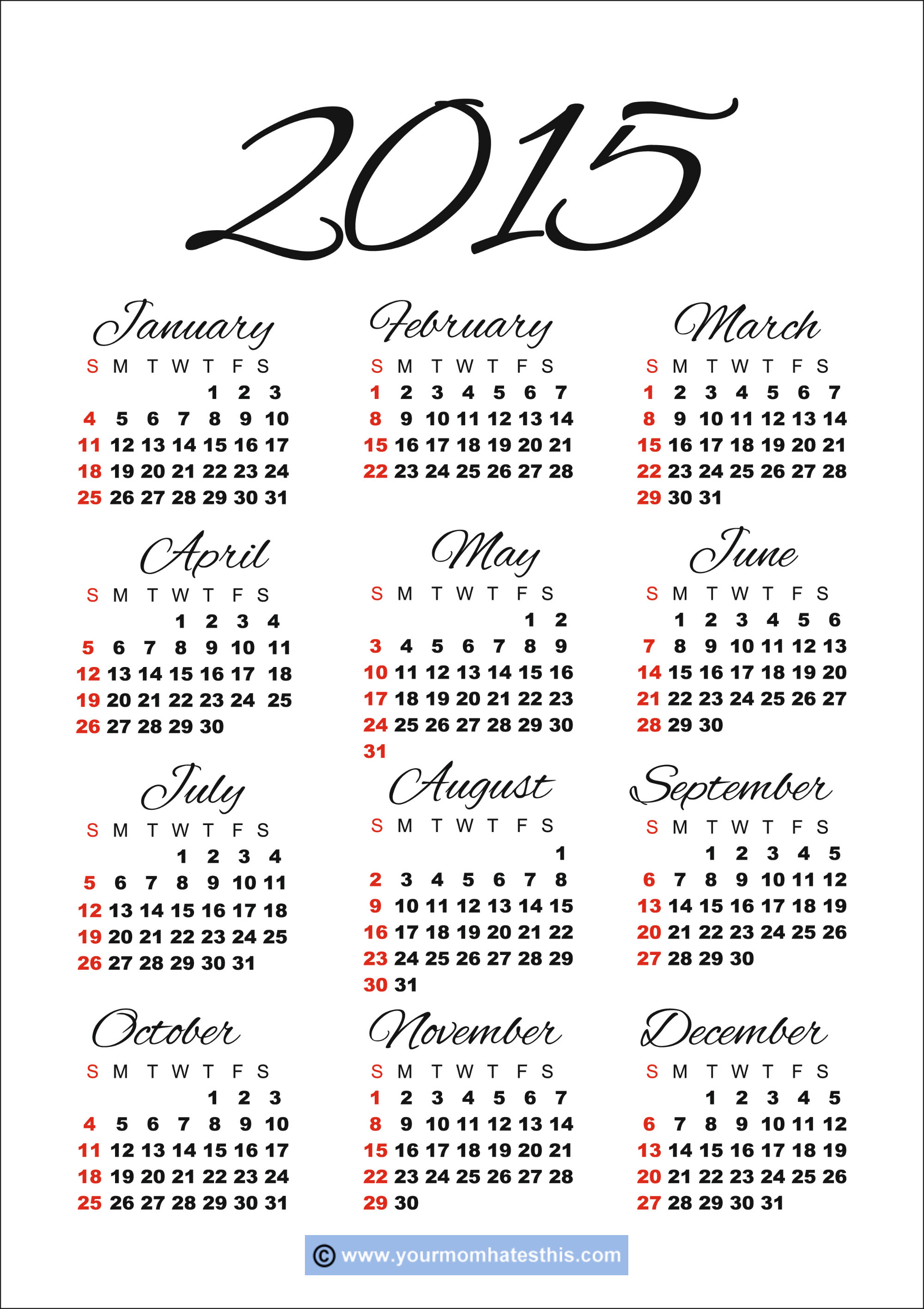6 Images of 2015 Printable Calendar