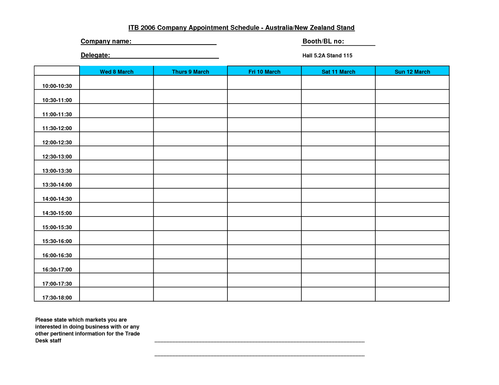 10 Images of Printable Appointment Schedule Template