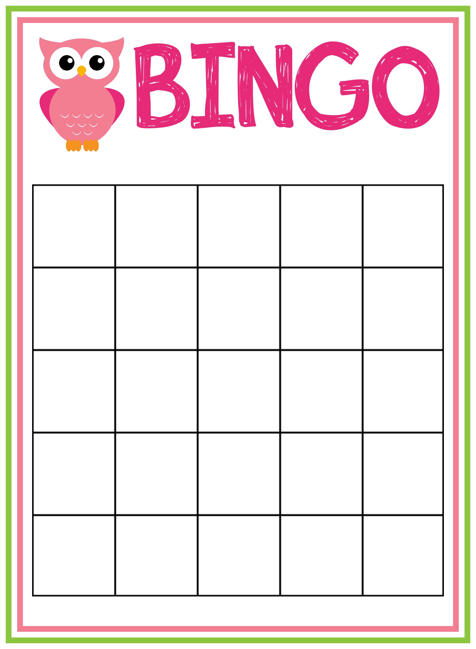 9 Images of Free Printable Baby Bingo Template