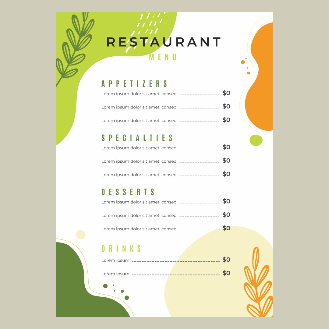 Restaurant menu design blank for Free printable menu templates