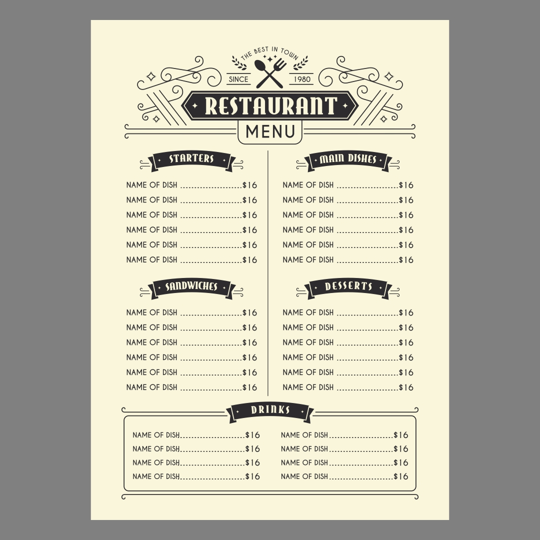 6 best images of printable blank restaurant menus free printable template restaurant menus. Black Bedroom Furniture Sets. Home Design Ideas