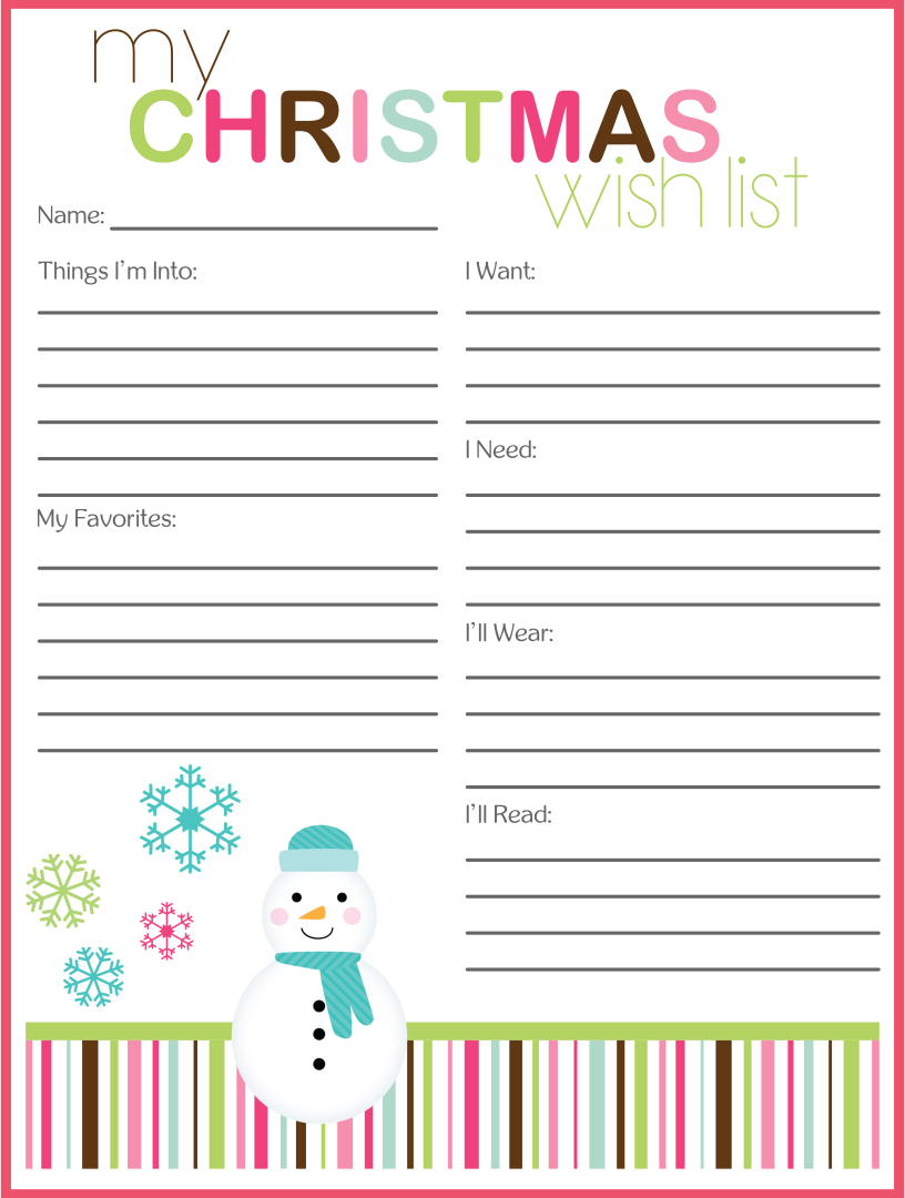 Printable Holiday Wish List Crafthubs – Printable Christmas List Template