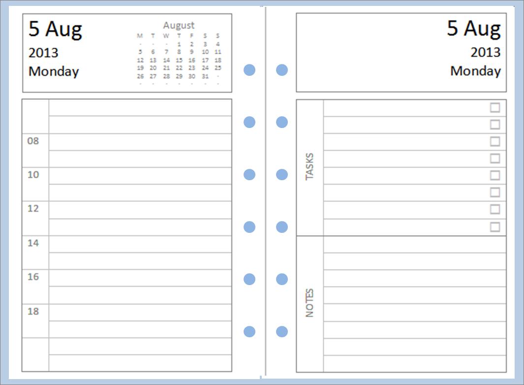 Printable Diary Page Template