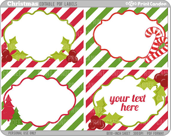 8 Images of Christmas Printable Labels Editable