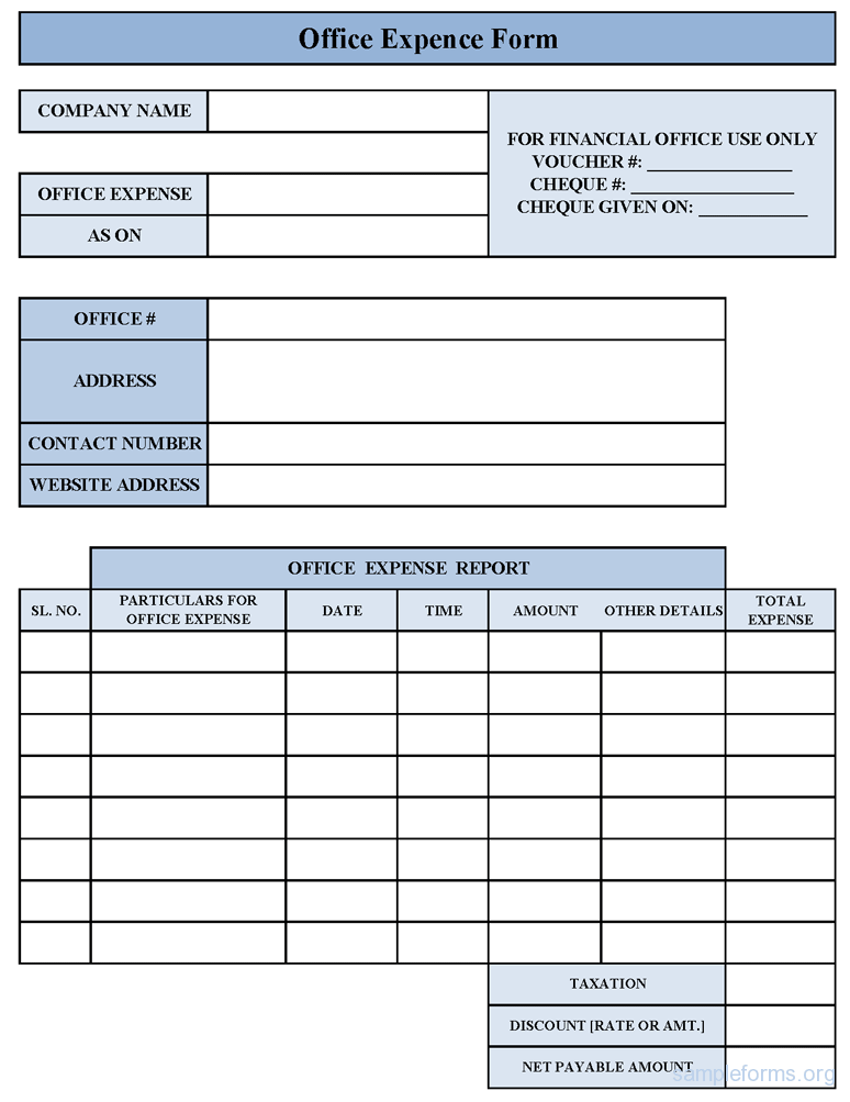 small business expense form