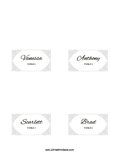 7 best images of printable folded place card template for Free place card template