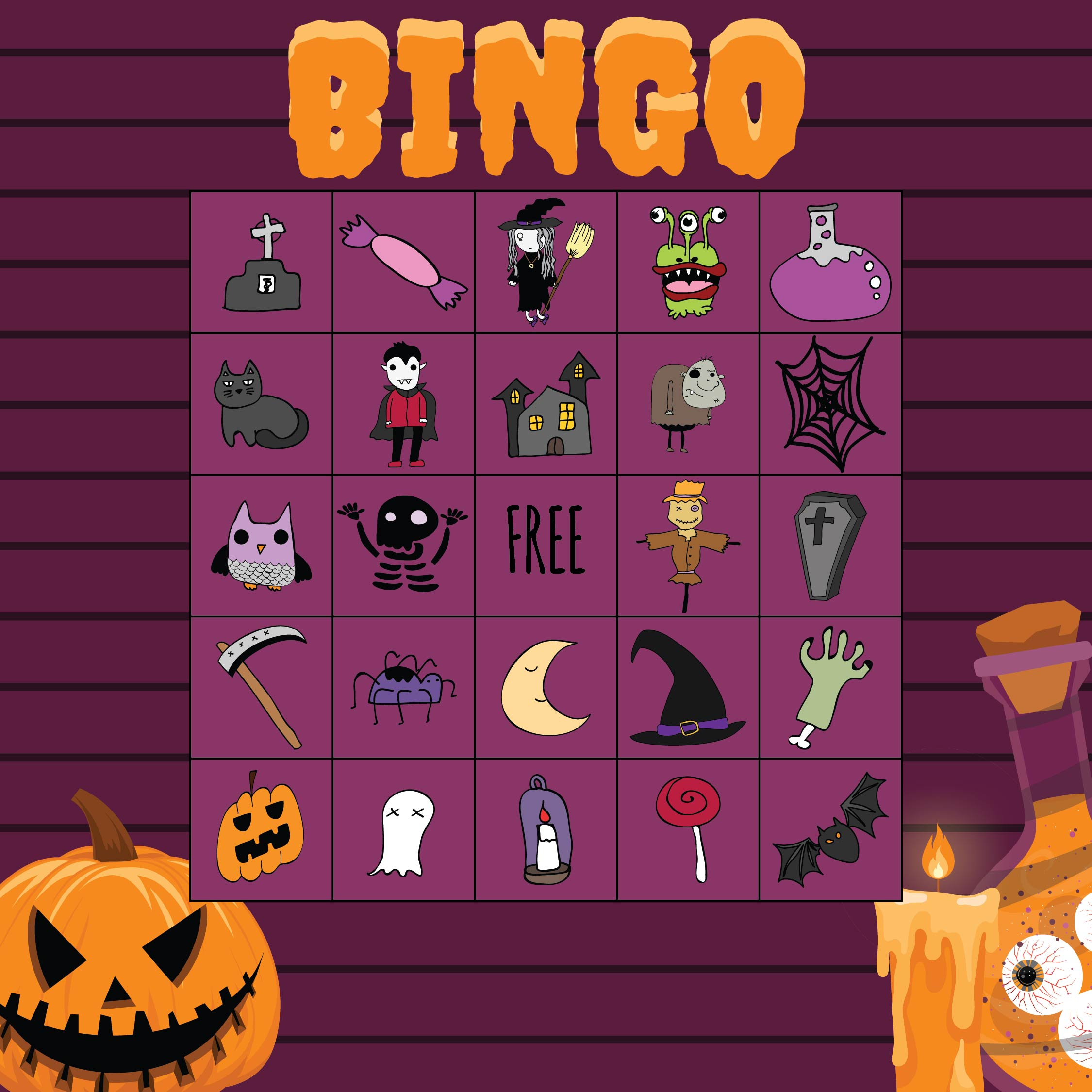6 Images of Free Printable Halloween Bingo Game