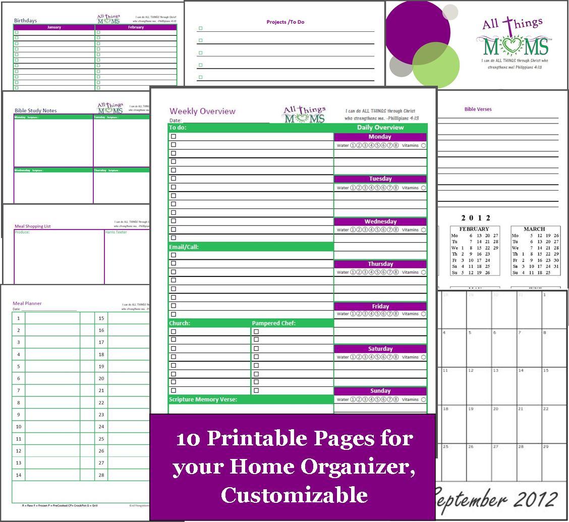 Free Printable Home Organizer