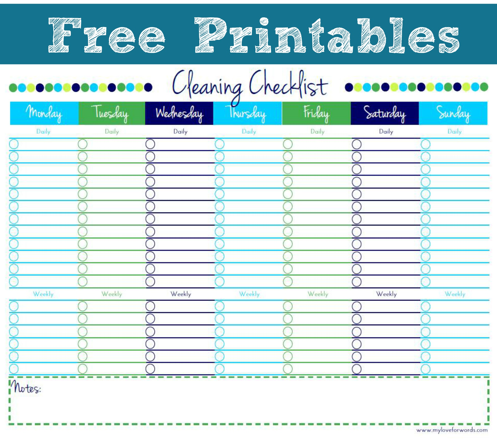 6 Images of Cleaning Checklist Free Printable Template