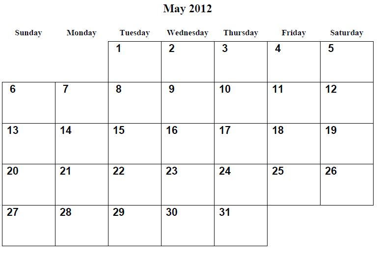 May 2012 Calendar 5 best images of printable calendar may 2012 - may ...