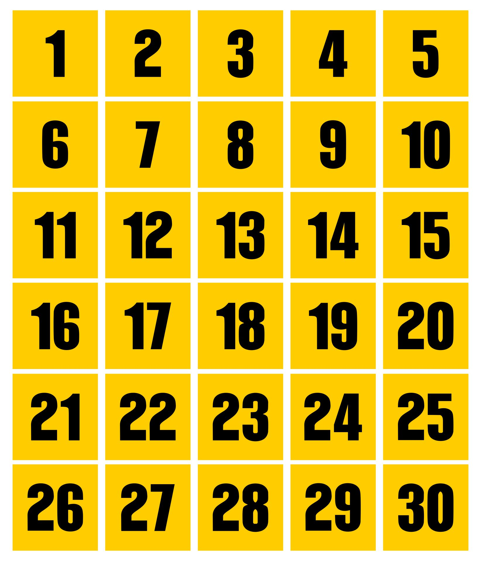 8 Images of Large Printable Numbers 1 30