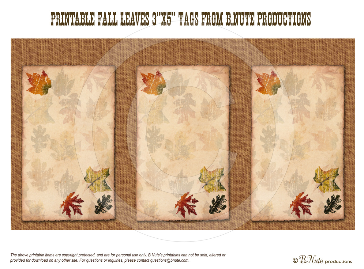 5 Images of Free Printable Gift Tags For Fall Leaves