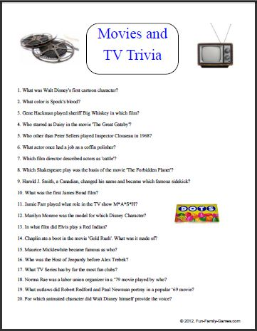 Free Printable TV Trivia Games