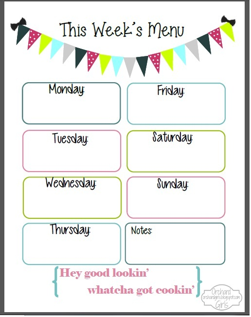 6 Images of Weekly Menu Printable Template