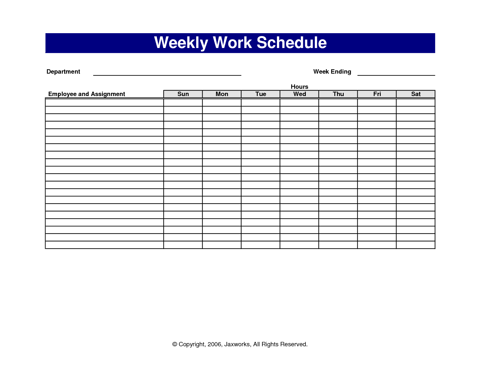 6 best images of free printable office forms schedules printable weekly work schedule template. Black Bedroom Furniture Sets. Home Design Ideas