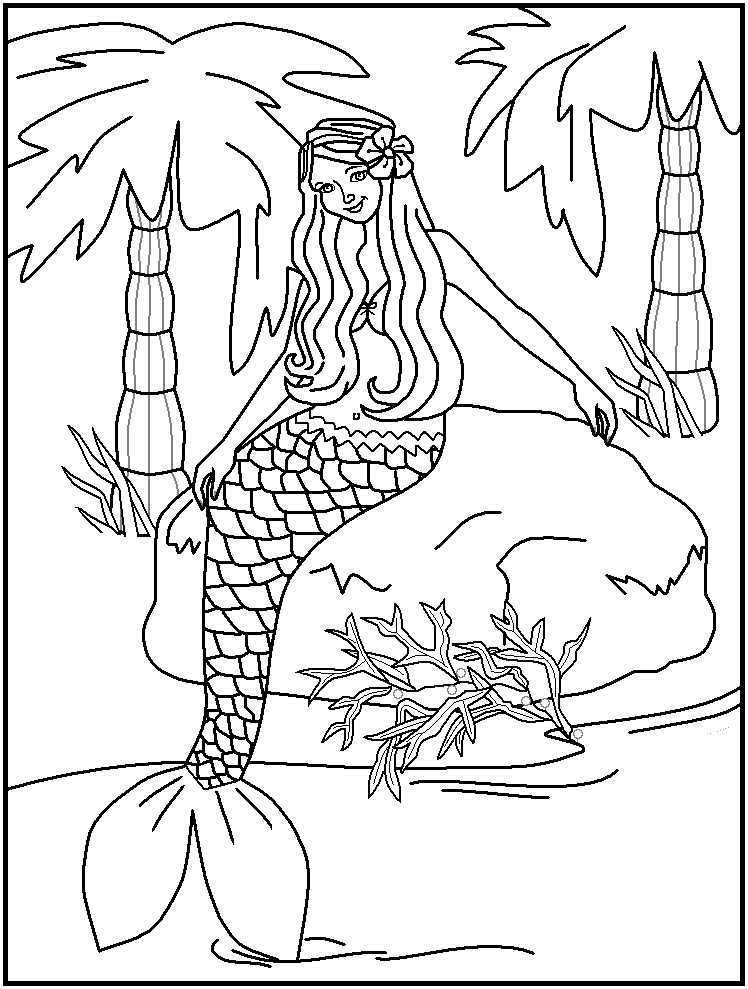 7 best images of free printable coloring pages water for Free printable mermaid coloring pages