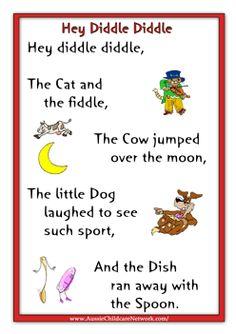 Hey Diddle Nursery Rhyme Printable