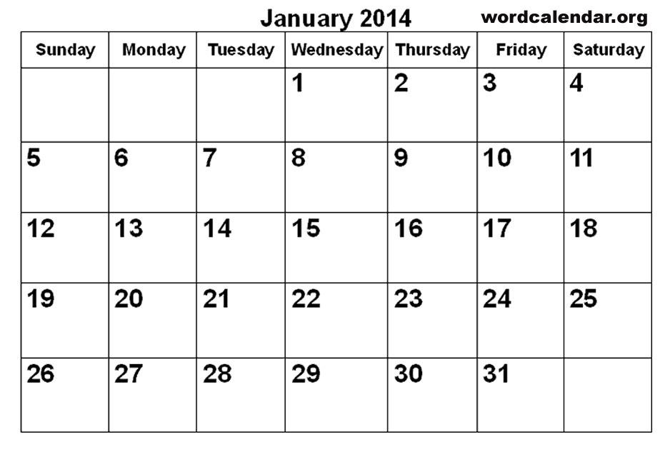 8 Images of Printable 2014 Monthly Calendar Template