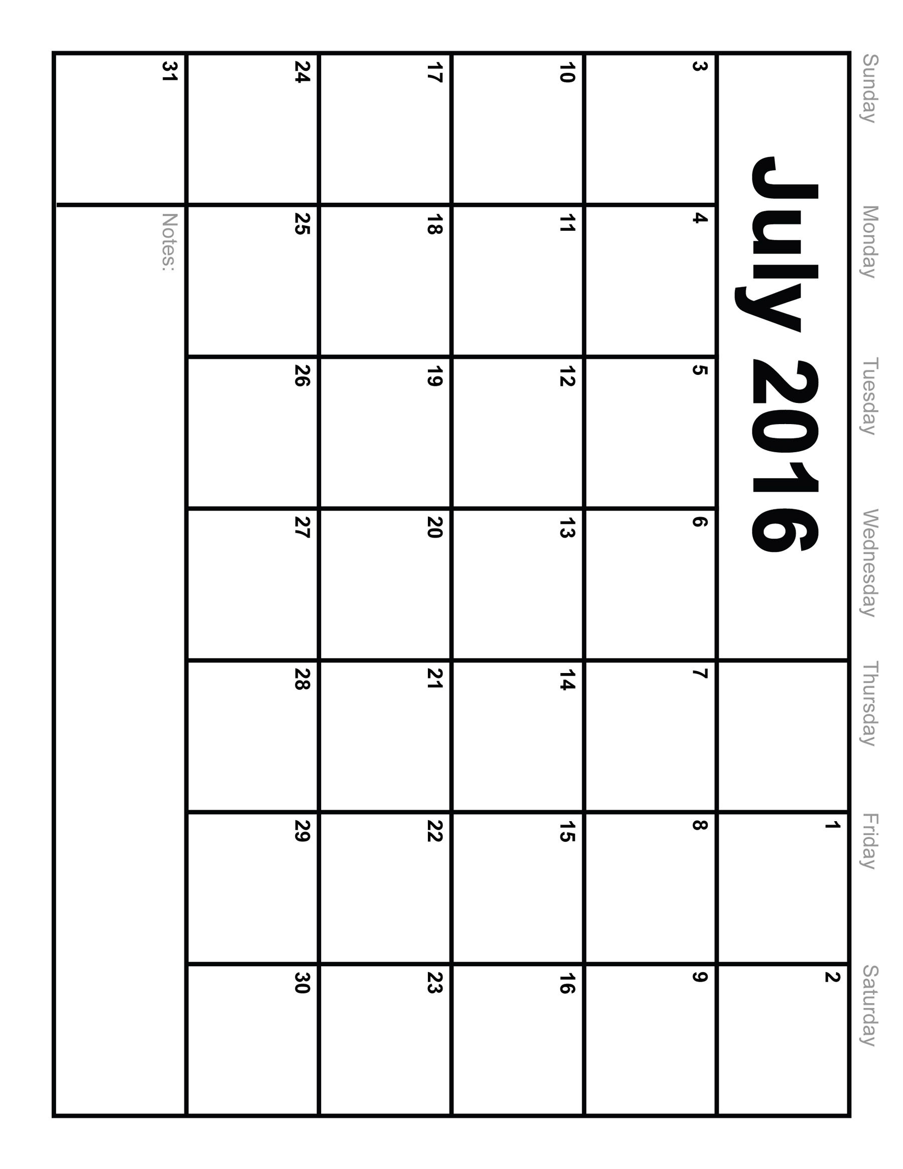7 Images of Printable Blank Monthly Calendar July 2016