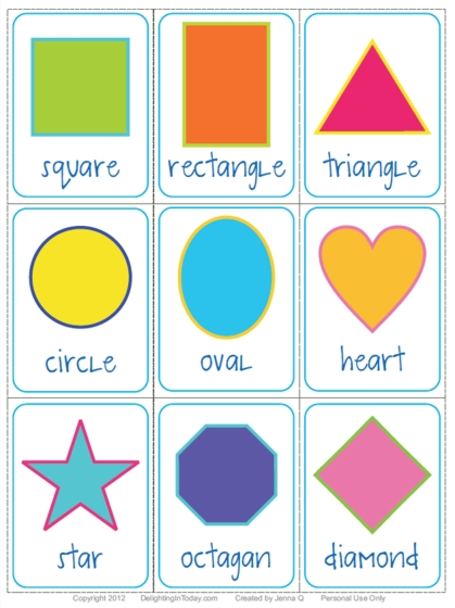 Modest image with printable shape flash cards