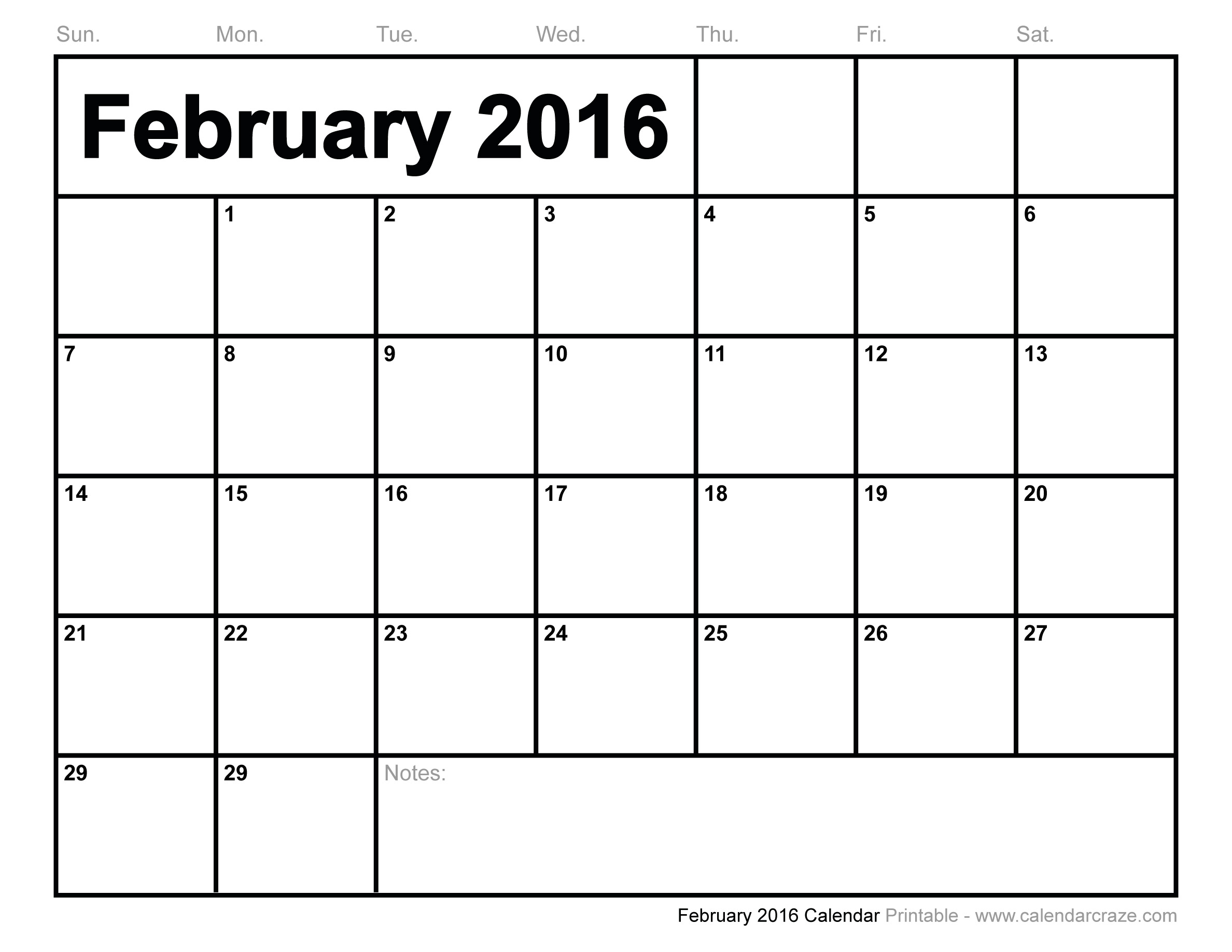 6 Images of 2016 Calendar Printable February